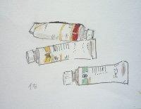 チューブ   カット    ペンに水彩