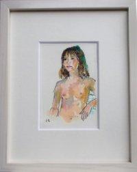裸婦 (2)    ミニアチュール   葉書サイズ   ペンに水彩