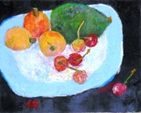 皿の果物(2)   F3号    油彩