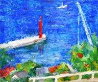 赤い灯台  F8号     油彩