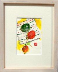 皿の烏瓜(縦絵)  ミニアチュール  葉書サイズ  ペンに水彩