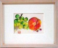 桃と葡萄  ミニアチュール  葉書サイズ  ペンに水彩