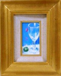 ワイングラスとビ―玉  ミニチュアール   油彩