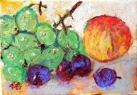 桃と葡萄   SM   油彩
