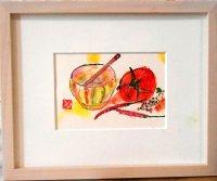 小鉢と小トマト  ミニアチュール  葉書サイズ  ペンに水彩