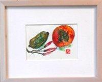 瓜と柿  ミニアチュール  葉書サイズ  ペンに水彩