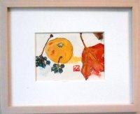 木の葉と瓜  ミニアチュール  葉書サイズ   ペンに水彩
