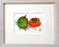 柿と洋梨  ミニアチュール  葉書サイズ  ペンに水彩