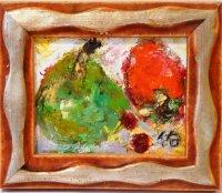 洋梨と筆柿  ミニアチュール  油彩    額の大きさ(13cx11c)