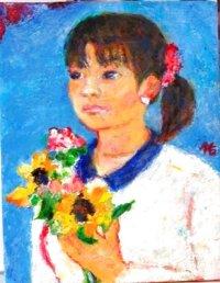 花束を持つ    F6号     油彩