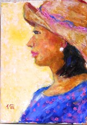 画像1: 帽子で。    F4号    油彩
