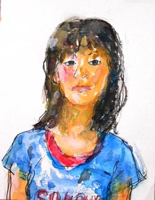 画像1: 青いTシャツ  カット   ペンに水彩
