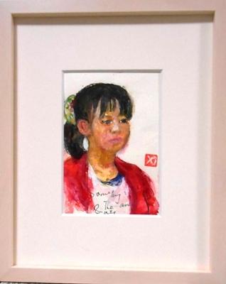 画像1: ポニーテールの少女   ミニアチュール  葉書サイズ   ペンに水彩