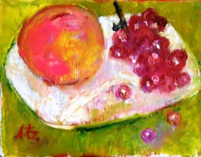 画像1: 桃とデラウエア    F0号  油彩