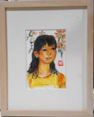 画像1: ハートのピアス♡  ミニアチュール    葉書サイズ  ペンに水彩