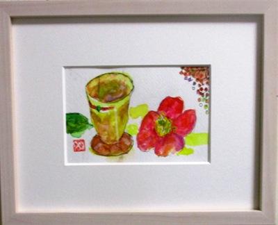 画像1: マグカップと椿   ミニアチュール  葉書サイズ ペンに水彩