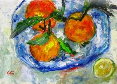 画像1: 皿のポンカン   F4号   油彩