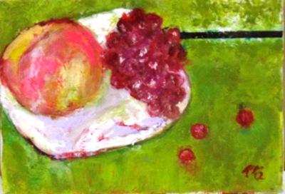 画像1: ガラス皿の果物   SM   油彩