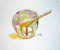 陶器の小鉢   カット   ペンに水彩