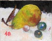 洋梨とビ―玉   F0号   油彩