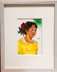 黄色い服の少女  ミニアチュール  葉書サイズ  ペンに水彩