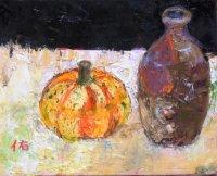 徳利と小かぼちゃ   F3号    油彩