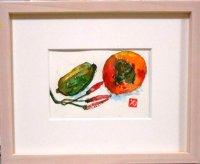 柿と瓜  ミニアチュール  葉書サイズ  ペンに水彩