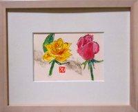 二輪のバラ  ミニアチュール 葉書サイズ  ペンに水彩