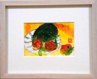 皿の苺 ミニチュアール  葉書サイズ  ペンに水彩