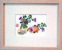 小花と貝  ミニアチュール  葉書サイズ  ペンに水彩