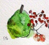 洋梨と実と。   カット    ペンに水彩