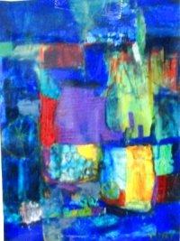 高橋佑理の抽象画。 油彩  (サンパウロにて)