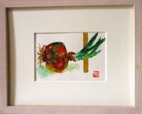 玉葱   ミニアチュール    葉書サイズ    ペンに水彩