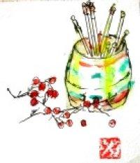 楊枝入れと実   カット   ペンに水彩