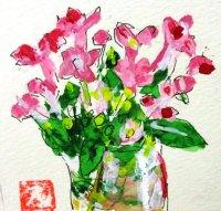 ガラスに花。  カット    ペンに水彩