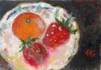 皿の苺     SM      油彩
