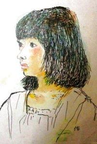 少女    カット     ペンに水彩