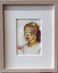 バイオレット・ポニーテール   葉書サイズ  ペンに水彩