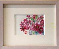 花々  葉書サイズ  ペンに水彩