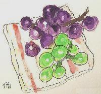 画像1: 皿の葡萄    水彩    カット