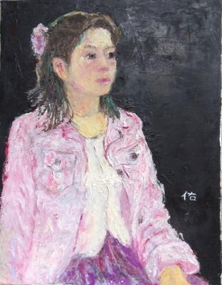 画像1: ピンクのジャケット    F6号    油彩
