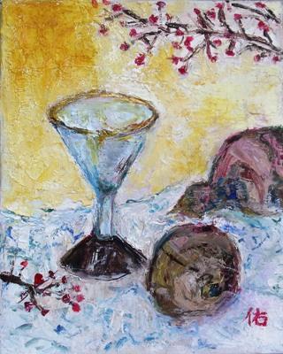 画像1: ワイングラスと瓢箪   F3号    油彩