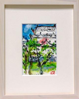 画像1: 小田原城    ミニアチュール    葉書サイズ   ペンに水彩