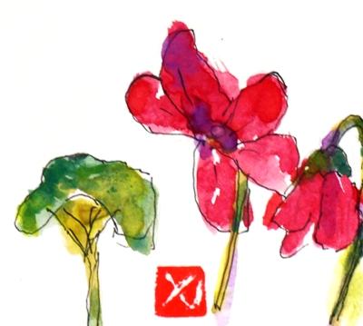 画像1: シクラメン(1)   カット      ペンに水彩