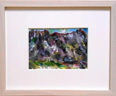 画像1: マッタ―ホルン北壁  ミニアチュール  葉書サイズ ペンに水彩
