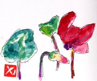 画像1: シクラメン(2)   カット   ペンに水彩