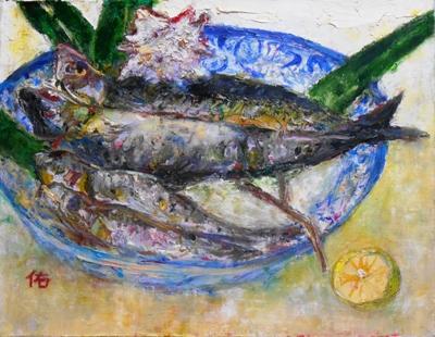 画像1: 魚と貝    F6号   油彩