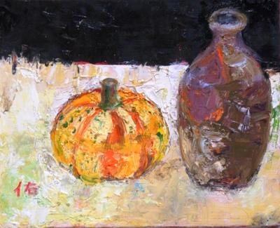 画像1: 徳利と小かぼちゃ   F3号    油彩
