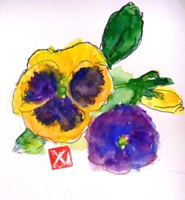 画像1: パンジー   カット    ペンに水彩
