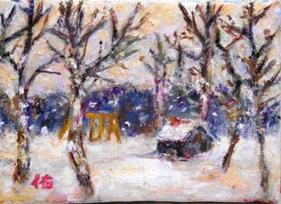 画像1: 雪の庭   SM    油彩